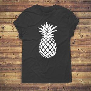 Pineapple Black TShirt - Vacation Tee Sz XS - 3XL